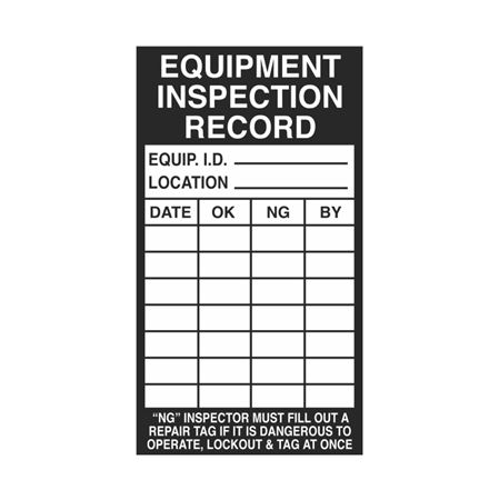 Inspection - Service Record Decals - Equipment Inspection Record 2.5 x 4.5