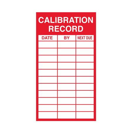 Inspection - Service Record Decals - Calibration 2.5 x 4.5