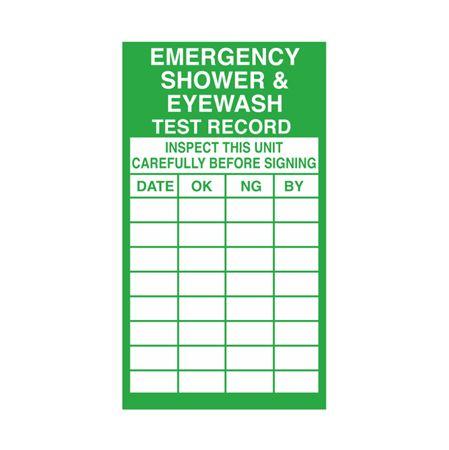 Emergency Shower & Eyewash Test Record 2 1/2 x 4 1/2