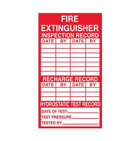 Fire Extinguisher Inspection Decals - 2-1/2 x 4-1/2