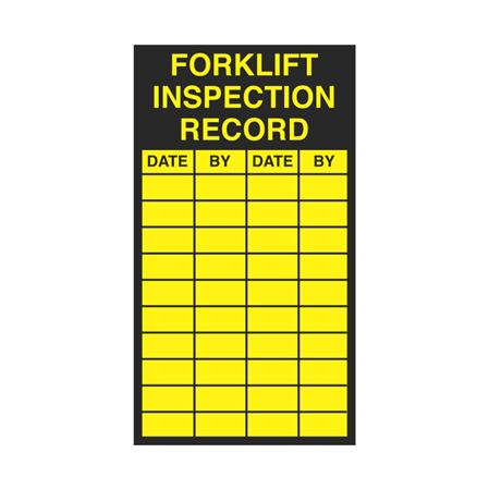 Inspection - Service Record Decals - Forklift Inspection Record 2.5 x 4.5