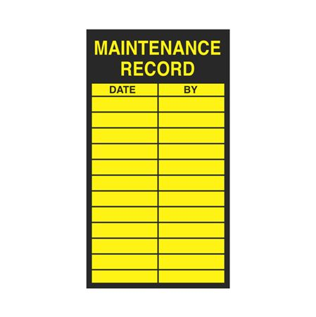 Inspection - Service Record Decals - Maintenance Record 2.5 x 4.5