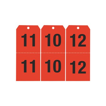Hot Tags with Jumbo Numbers - Red Fluorescent Cardstock 3.5 x 8.5