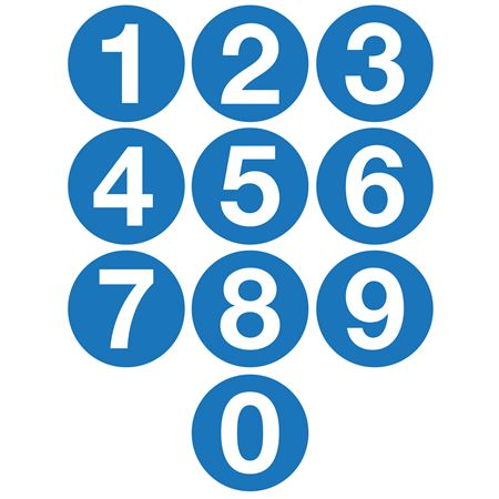 Jumbo Number Printed Labels - 4 inch Blue #0