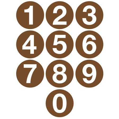 Jumbo Number Printed Labels - 4 inch Brown #0