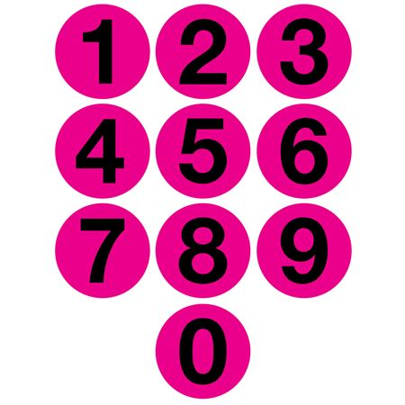 Jumbo Number Printed Labels - 4 inch Pink #0