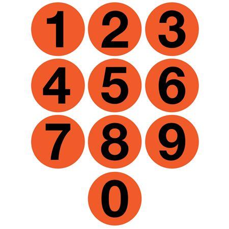"Jumbo Number Printed Labels - 4"" Orange"