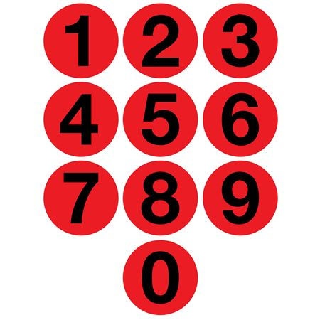 Jumbo Number Printed Labels - 4 inch Red #0