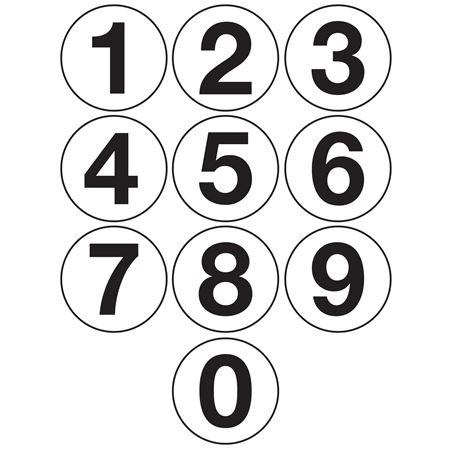 "Jumbo Number Printed Labels - 4"" White"
