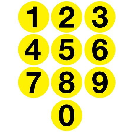 Jumbo Number Printed Labels - 4 inch Yellow #0