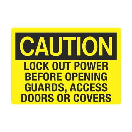 Electrical Decals - Caution Lock Out Power Before Opening Guards Access Doors Or Covers 3.5 x 5