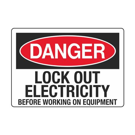 Lock Out Electricity Before Working On Equipment 3.5 x 5