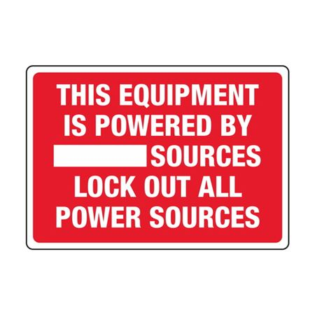 Transformer Decals - This Equipment Is Powered By _______ Sources Lock Out All Power Sources 3.5 x 5