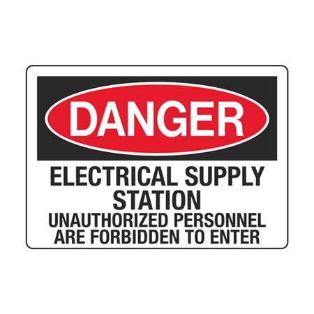 Elect.SupplySta.UnauthorizedPersonnel ForbiddenToEnter 3.5x5