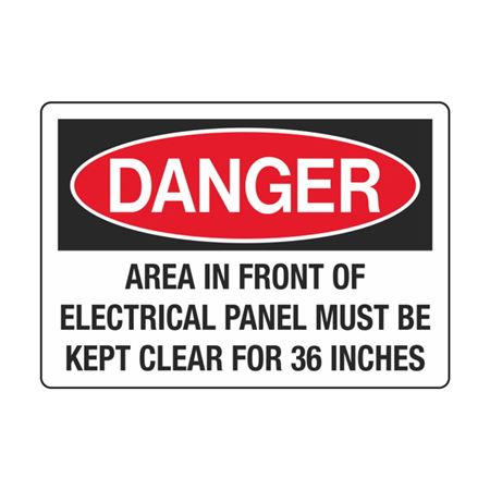 Area In Front Of Elect. Panel Must Be Kept Clear 3 1/2 x 5