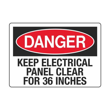 Electrical Decals - Danger Keep Electrical Panel Clear For 36 Inches 3.5 x 5