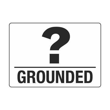 Electrical Decals - Grounded (With Question Mark) 3.5 x 5