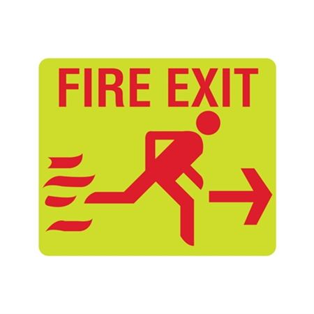 Luminescent Fire Exit Running Right Arrow Sign