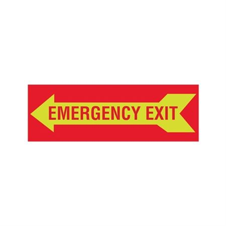Luminescent Emergency Exit Graphic Left Arrow  Sign 4x12