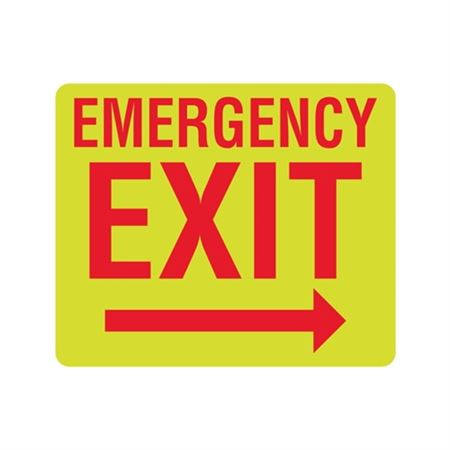 Luminescent Emergency Exit Right Arrow Sign 10x12