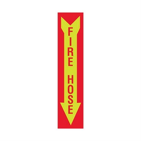 Luminescent Fire Hose Graphic Arrow Down Sign 4x18