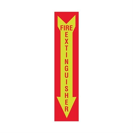 Luminescent Fire Extinguisher Graphic Arrow Down Sign 4x18