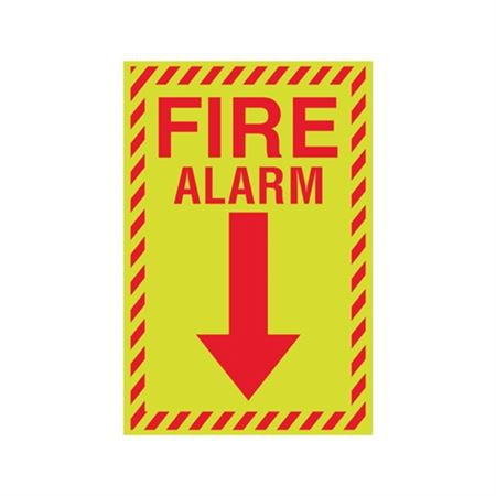 Luminescent Fire Alarm Graphic Down Arrow Sign 8 x 12