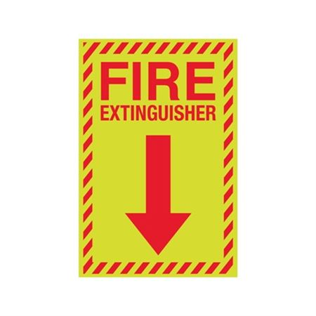Luminescent Fire Extinguisher Graphic Down Arrow Sign 8x12