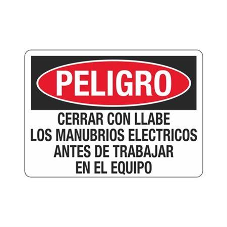 Peligro Cerrar Con Llave Los Manubrios Electricos Sign