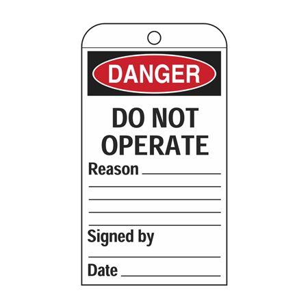 Self-Laminating Tags - Do Not Operate - Reason 3 1/8 x 5 5/8