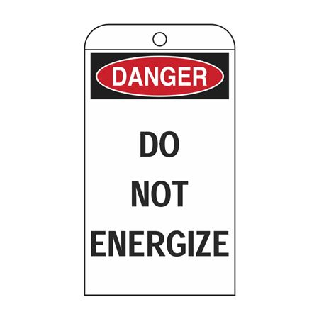 Self-Laminating Tags - Danger Do Not Energize