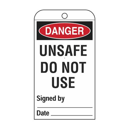 Self-Laminating Tags - Unsafe Do Not Use 3 1/8 x 5 5/8