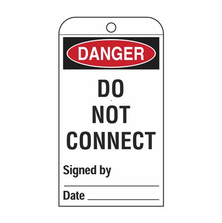 Self-Laminating Tags - Danger Do Not Connect