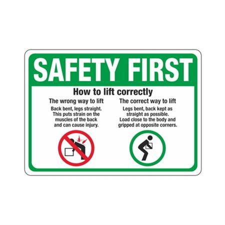 Safety First How To Lift Correctly Sign