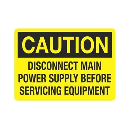 Caution Disconnect Main Power Before Servicing Equipment