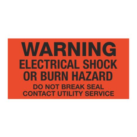Meter Decals - Warning Electrical Shock Or Burn Hazard Do Not Break Seal Contact Utility Service 1 x 2