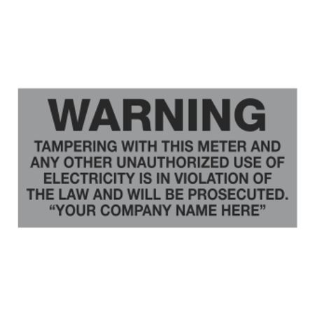 Meter Decals - Warning Tampering With This Meter - 1 x 2