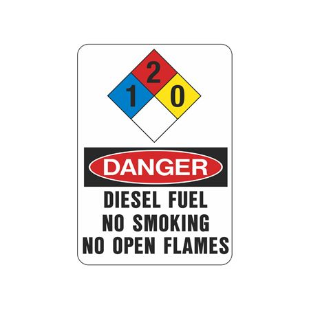 NFPA Chemical Signs-Diesel Fuel-NoSmokingNoOpenFlame-10x14