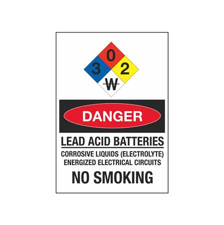 Lead Acid Batteries No Smoking Chemical Sign 7x10 in.
