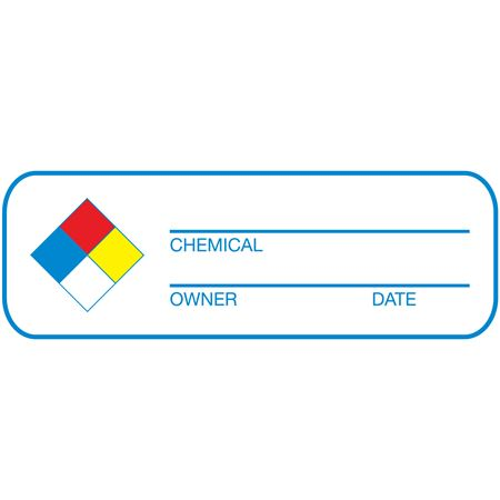 NFPA Write-On Labels - Chemical, Owner, Date Roll of 250 1 x 3