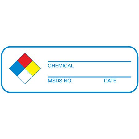 NFPA Write-On Labels-Chemical, MSDS No., Date-RL/250-1 x 3