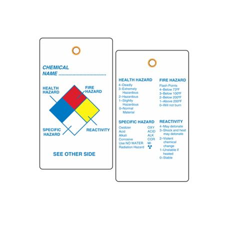 """NFPA Vinyl Tags - Chemical Name - Graphic 3 1/8"""" x 5 5/8"""""""