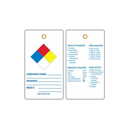 NFPA Vinyl Tags - Substance, Remarks, MSDS # 3-1/8 x 5-5/8