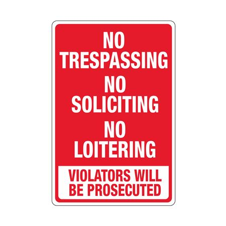 No Trespassing No Soliciting No Loitering Sign