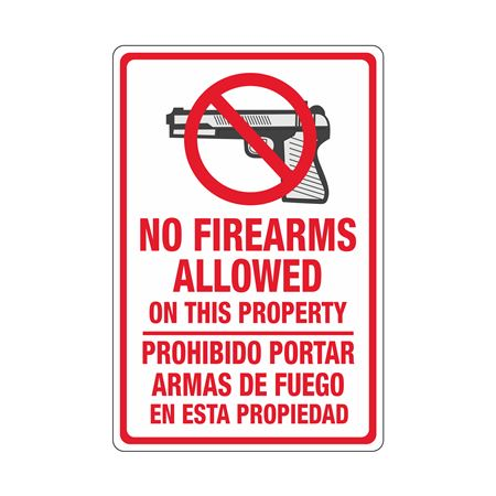 No Firearms Allowed On This Property (Bilingual) Sign