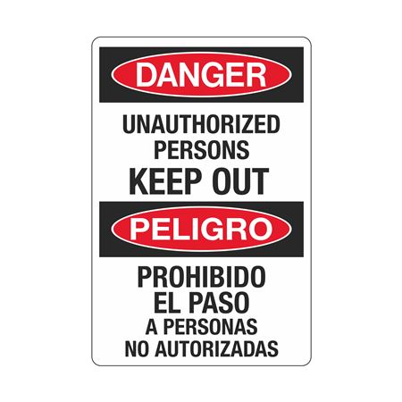 Danger Unauthorized Persons Keep Out (Bilingual) Sign
