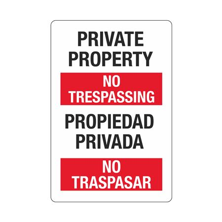 Private Property/No Trespassing (Bilingual) Sign