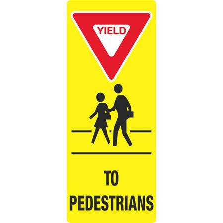 Portable Sign System - Yield to Pedestrians 12 x 30