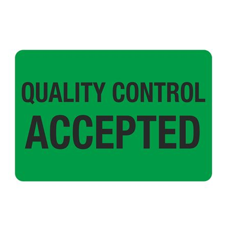 """Food Facility Labels Quality  Control Accepted 500/RL  4"""" x 6"""""""