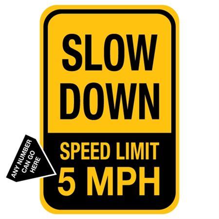 Slow Down Speed Limit ___ MPH - 12 x 18